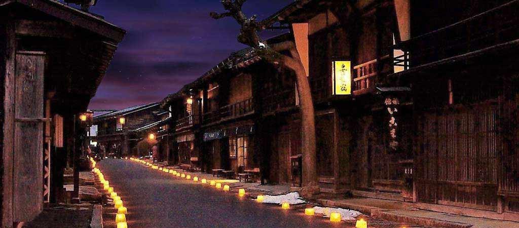 妻籠宿夜の風景